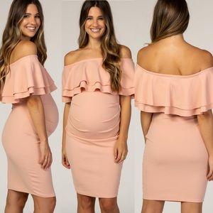 Pinkblush Pink Ruffle Off Shoulder Maternity Dress